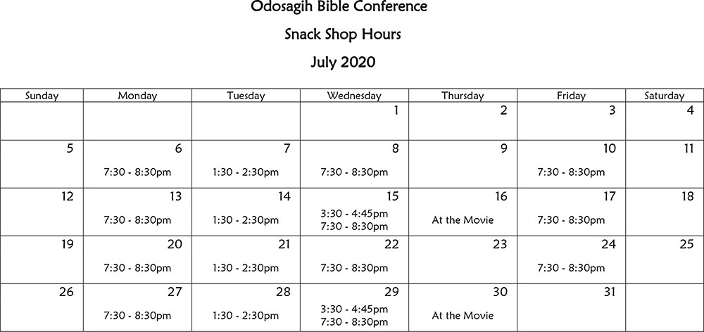 Bookstore Hours for August 2020